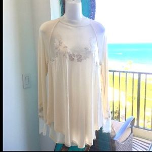 NWOT Free People Embroidered Long Sleeve Blouse